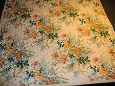 "QUILTED THROW OR BEDCOVER 57"" X 54"" FLORAL DESIGN EXCELLENT!"
