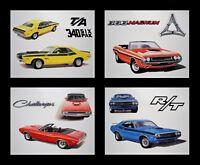 4 ART PRINTS POSTERS DODGE CHALLENGER T/A R/T 1970 1971 1972 1973 1974 340+6 360