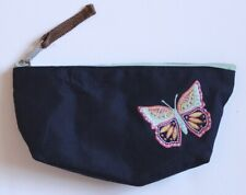 Hanna Andersson Blue Butterfly Pencil Case Pouch Zip Closure