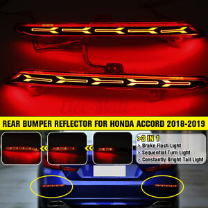 Pair Rear Bumper Reflector Brake Tail Light Sequential For Honda Accord 2018-19