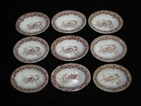 "Rare|! Set of 9 Copeland Ironstone ""Cairo"" Aesthetic Pattern Oval Bowls"