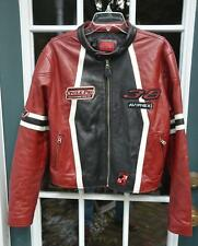 "RARE! AVIREX ""Cycle Pro"" Womens Burgundy Leather Biker Jacket w Patches! XL"