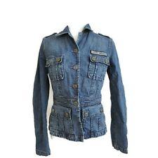 Lucky Brand Woman's Blue Jean Denim Jacket Cargo Pockets Sz S/M Military Style