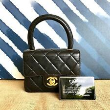 CHANEL Black Quilted Lambskin Leather Mini Satchel Flap Bag Collectible CC