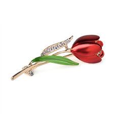 Chic Women Shinny Rhinestone Glass Tulip Flower Brooch Pin Jewelry Xmas Gifts