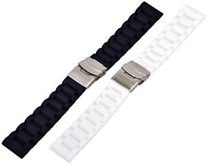 Silicone Watch Band Diver's Bracelet With Folding Clasp Wawes