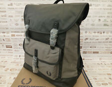 FRED PERRY Backpack L6213 Rucksack Coated Canvas Charcoal Large Shoulder Bag New