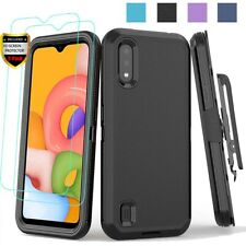 For Samsung Galaxy A01 Case Belt Clip Holster Cover + Tempered Glass Protector