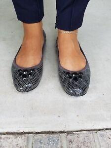 ELLEN TRACY  CARLA Jeweled Grey Snake Embossed Leather Ballet Flat 8.5 M