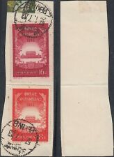 China 1956 - Used stamps on piece of paper. Mi nr.: 326-327. (Vg) Mv-4377
