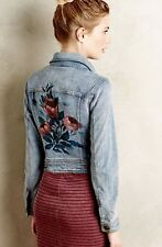 NEW Anthropologie Pilcro Classic Denim Jacket with Handprinted Floral Back M