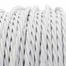 WHITE TWIST vintage style textile fabric electrical cord cloth cable 1m
