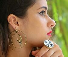Spiral Earring Brass Tribal Gold Women Ethnic Pair Hoop Vintage Fake Gauge Gypsy