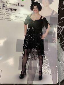 Flapper Dress 1920's Costume Halloween Great Gatsby Black Size 18-20 New!