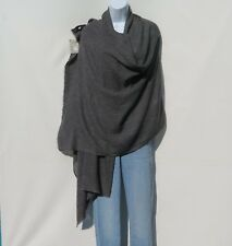 """100% Cashmere Shawl Handloomed Nepal  """"Natural"""" 1Ply 4 Paddle Charcoal & Gray"""