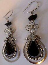 Taxco Made Mexican Jewelry Pierced Dangle Earrings Silver Tone Metal Black Onyx