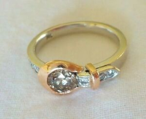 14K Multi Gold Solitaire Brown White Diamond Buckle Ring - Size 6.5, 2/3 ctw
