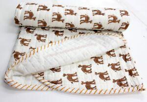 Indian Baby Kantha Quilt Throw Handmade Block Print Blanket Decor Coverlet S 943