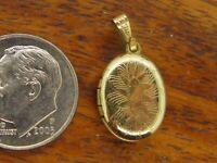 Vintage 12k gold filled ETCHED ENGRAVABLE LOCKET PHOTO HOLDER PENDANT charm