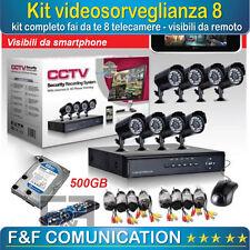 KIT VIDEOSORVEGLIANZA 8 TELECAMERE COMPLETO CAVI HARD DISK 750GB ALIMENTATORE