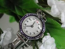 Ladies Art Deco Girod Sterling Silver Blue Flowery Enamel Watch~ Runs