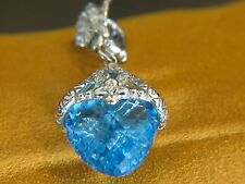 Brand New Bixby Blue Topaz Pendant 18k White Gold with Diamonds