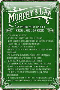 "Murphy's Law Metal Wall Sign Shamrock Design Irish Green Wall Plaque  8 x 11.8"""