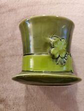 Vintage Green Ceramic Shamrock Hat - Irish - Made in Japan - 1944 - Rb