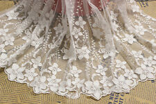 1 Yard Embroidered Tulle Lace Trim Mesh Net Bridal Dressmaking Sewing Craft DIY