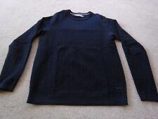 Mans Calvin Klein Waffle Knit Navy Blue Crew neck Jumper - Size Small