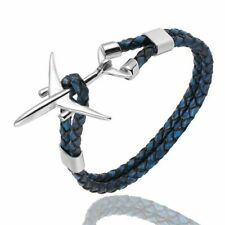 Pilot Bracelet Airplane Leather Rope Stainless Steel Aviation Plane Bracelets