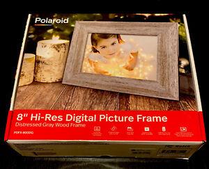 "8 Digital Photo Frame Wood Distressed Gray - Polaroid"""