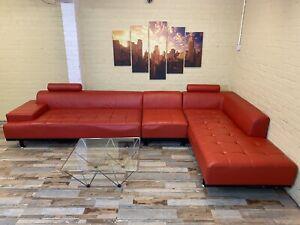 Pop Red Large Leather Corner Sofa
