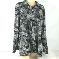 Maggie Barnes Womens Plus Sz 3x Top Button UP Black White Geometric Long Sleeve