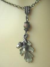 Bronze Oak Leaf & Acorn Necklace Pendant Unakite Gemstone Druid Pagan Hedgewitch