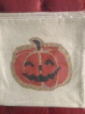 Pottery Barn Halloween Burlap Jack O'Lantern Pillow Cover 18x18 Orange Pumpkin