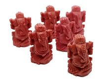 Hand Carved Ganesh Red Coral Lord Ganesha Mini Statue Car Office Table Altar