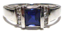 14K WHITE GOLD SYNTHETIC SAPPHIRE & CZ ESTATE WOMENS RING BAND SIZE 6.35