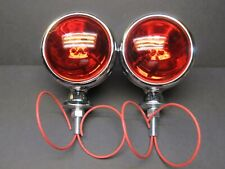 1 Pair of 2 ANTIQUE FIRE TRUCK LIGHTS 12v RED TEAR DROP 40's style Cloth Wire