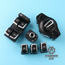 6Pcs Set OE Chrome Headlight Mirrior Window Switch For AUDI A4 S4 B8 Q5 A5 S5