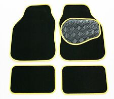 Vauxhall Corsa D (06-Now) Black Carpet & Yellow Trim Car Mats - Rubber Heel Pad