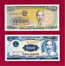 VIETNAM UNC BANKNOTES: 1,000 DONG 1988 (Pick-106) & 5,000 Dong 1991 (Pick-108)