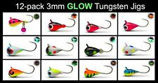 3mm Tungsten Ice Fishing and Fly Jig 12pk #16 hook Crappie walleye bluegill carp