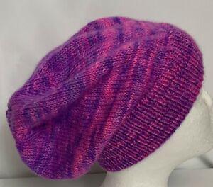 Unisex adult hand-knitted 100% AUS-ALPACA-MERINO WOOL slouch-beanie sew-ezy aus
