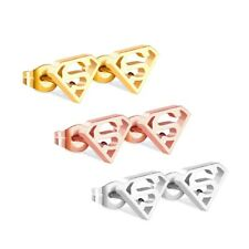 Superman Stainless Steel Stud Earrings Gold Silver Rose gold UK