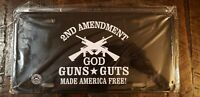 NEW 2nd Amendment GOD GUNS GUTS Made America Free Steel License Plate Free S/H