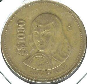 1988 MEXICO 1000 PESOS JUANA DE ASBAJE COIN!