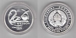 BELARUS - SILVER PROOF 20 ROUBLES COIN 2002 YEAR KM#119 FOOTBALL WORLD CUP 2006