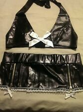 BLACK FAUX PVC SEXY BRA TOP AND SKIRT SET Med 10-12