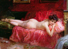 Oil painting nude young girl lying on bed in the summer afternoon in bedroom